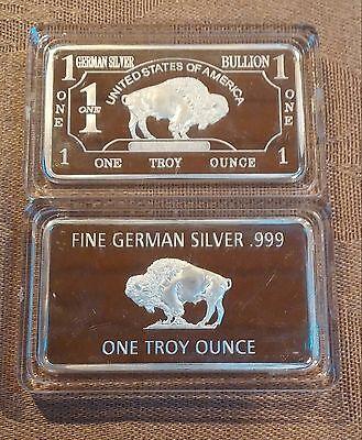 40  1 oz Fine German Silver Buffalo Collectible Art Bar W/CASE       (al1207)
