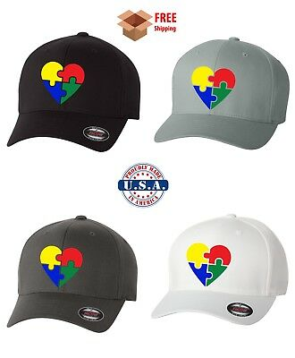 AUTISM AWARENESS FLEXFIT HAT CURVED or FLAT BILL *FREE SHIPPING in BOX*