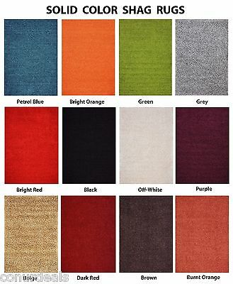 PREMIUM Solid Color Shag Area Rug Red Orange Grey Brown Green Beige Blue Shags  (Blue Shag Area Rug)