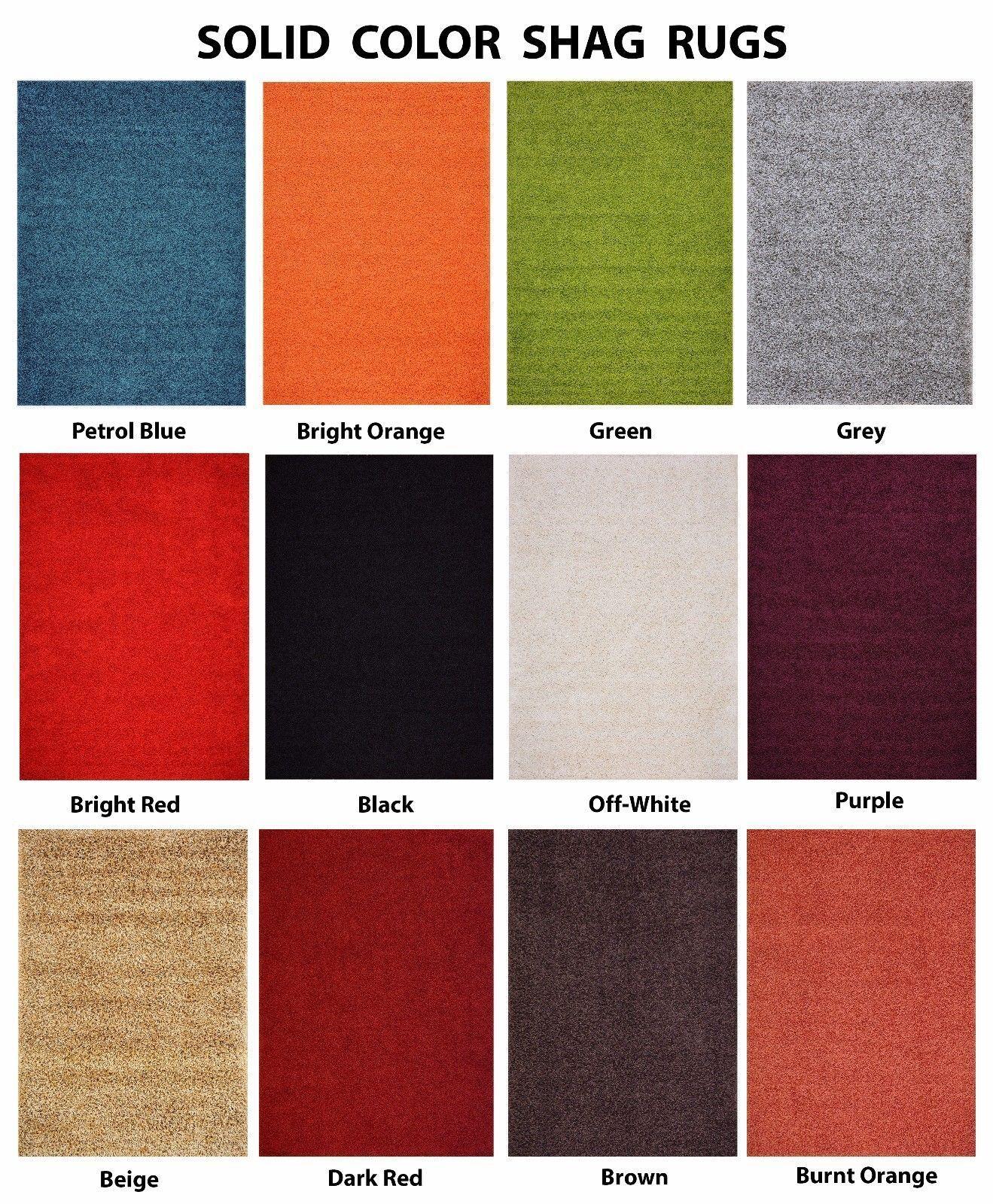 PREMIUM Solid Color Shag Area Rug Red Orange Grey Brown Gree