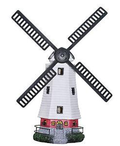 Outdoor Solar Powered Windmill Garden Ornament wind mill Light up