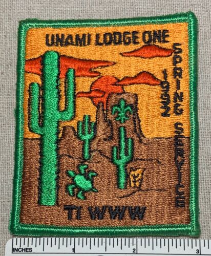 1992 UNAMI LODGE 1 ONE Order of the Arrow Spring Service PATCH OA TI Boy Scout