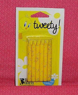 Yellow Glitter Tweety Bird Birthday Candles,Sparkle, Bakery Crafts,Wax Topper