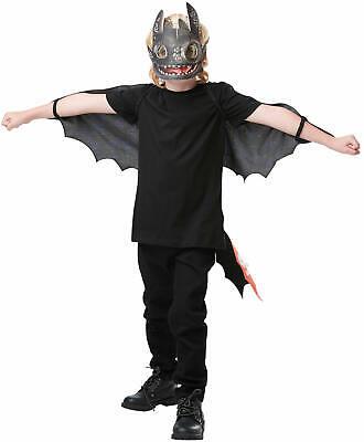 Toothlees Ohnezahn Leuchtend Drachenzähmen 3 Kinder Karneval Fasching Kostüm-Set (Kind Drachen Kostüme)