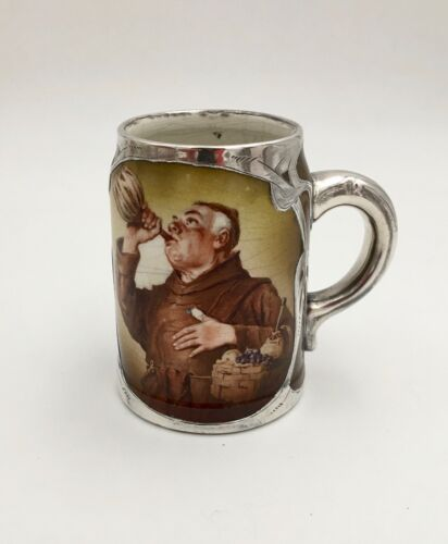 American Belleek Friar Monk Mug Columbia Art Pottery Trenton NJ Sterling Overlay