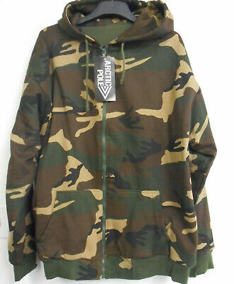 Artic Pole Mens XXtra Large Thermal Green Tan Camouflage Zippered Hoodie