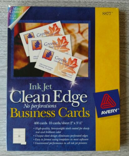 "-New- AVERY Clean Edge Business Cards #8877 Qty - 400 - 2"" x 3.5"" -New-"