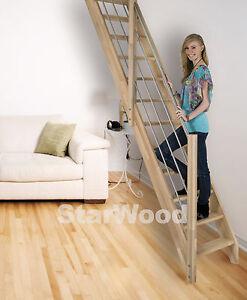 Raumspartreppe Buche 3000 inkl. Holz-Edelstahl Handlauf links, mit vollen Stufen
