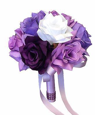 """Wedding Silk Flower bouquet(8"""")-Purple Lavender White rose Baby breath"""