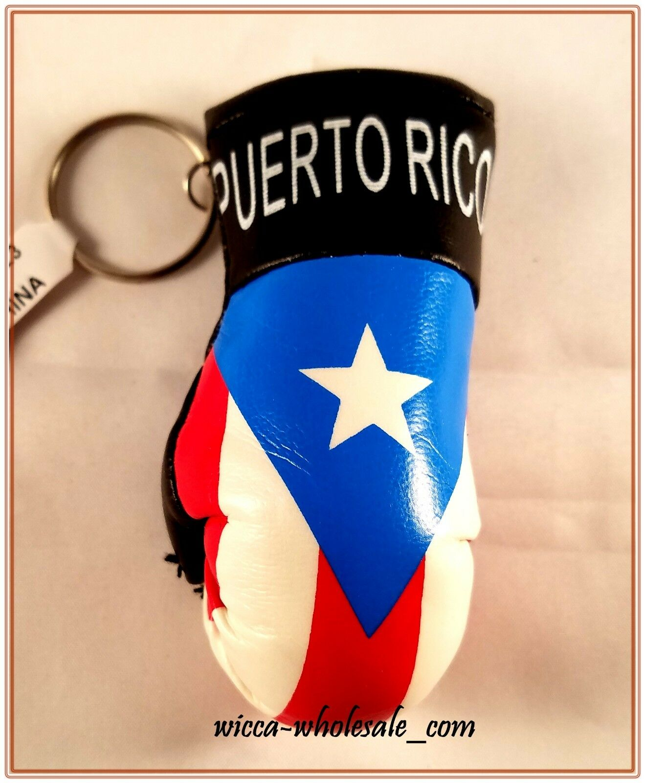 PUERTO RICO RICAN FLAG MINI BOXING GLOVES KEY CHAIN RING CAR