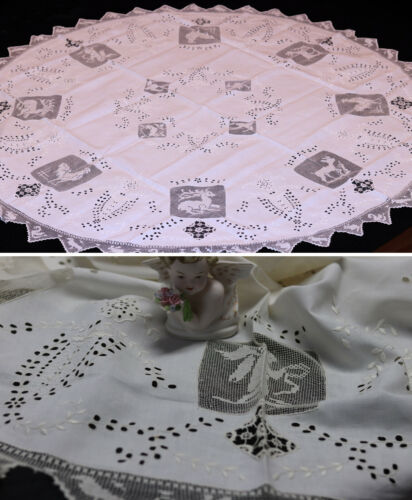 "Antique Tablecloth Mixed Needle Lace 56""RD Punto Traffore figural Beautiful"