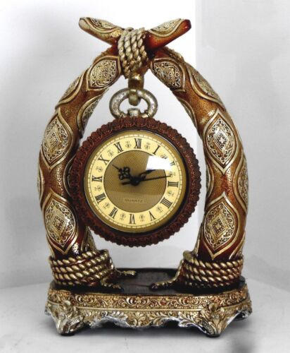 Horn design clock-Resin / Brown & gold / Gift / Home decorative