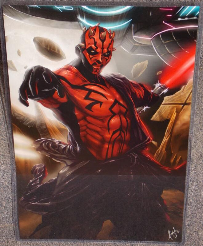 Star Wars Darth Maul Glossy Print 11 x 17 In Hard Plastic Sleeve