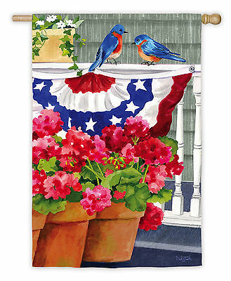 #NEW EVERGREEN BLUEBIRD BUNTING PATRIOTIC SUMMER JULY 4 HOUSE FLAG 29X43 BANNER