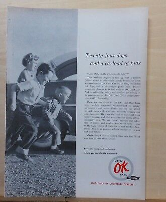 1952 magazine ad for Chevrolet - OK Used Cars, kids in lot, 24 dogs and - Dog Magazines For Kids