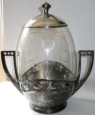 Großer Jugendstil Bowlentopf mit geschliffenem Glas u. Zinnmontur um 1910 WMF?