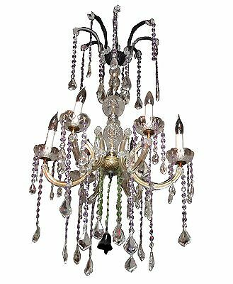 Five Light Chandelier Canopy (Five Light Crystal & Glass Chandelier with Iron Canopy )