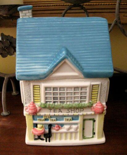 """Ceramic Cookie Jar Cottage """"The Tea Shop"""" Vintage 10"""" Tall"""