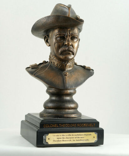 Rare NRA National Rifle Association THEODORE ROOSEVELT Bust/Statue Rifle Quote