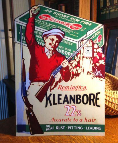 REPRO Remington UMC Kleanbore 22's Boy & Model 12 Standing Advertising Die Cut
