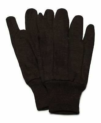 Brown Jersey Work Gloves Industrial Grade Non-disposable Mens Size 12 Pairs