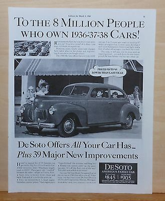 Vintage 1940 magazine ad for DeSoto, 39 Major Improvements plus all your car has