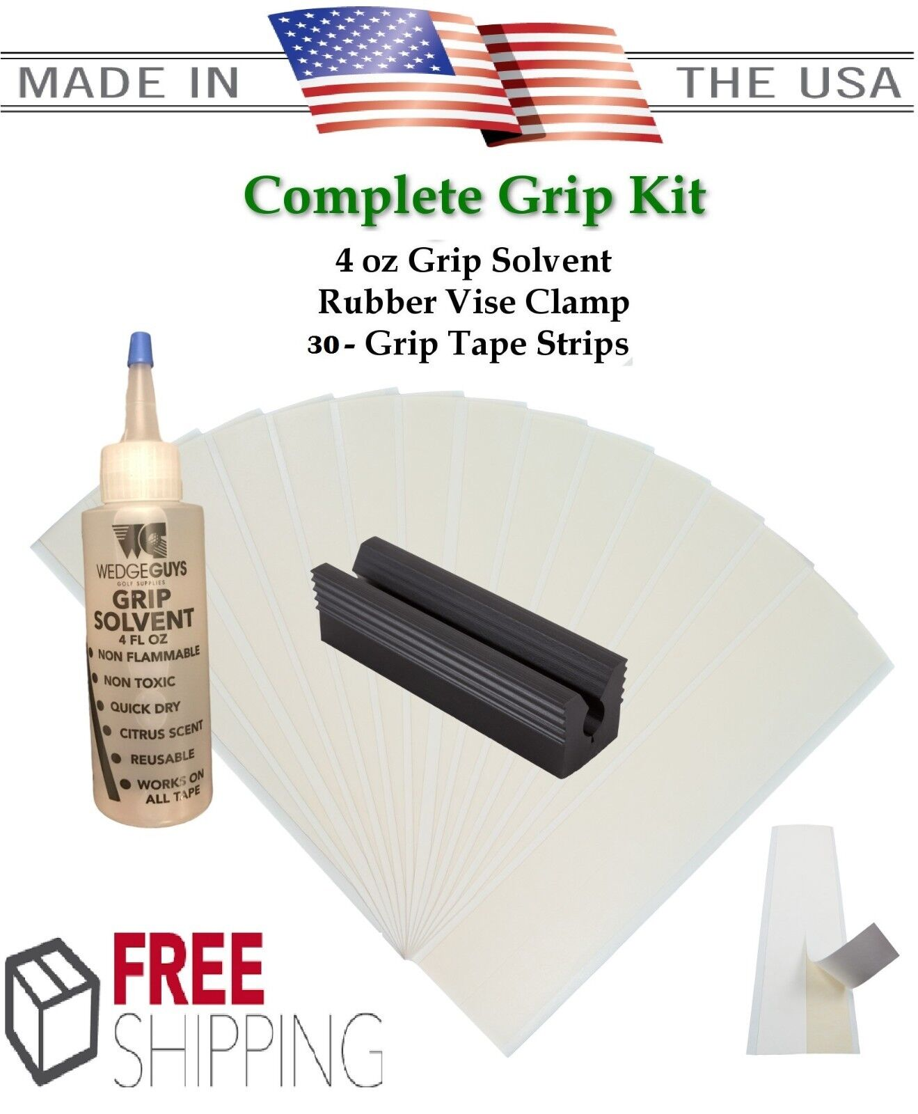 Golf Club GRIP KIT 30- Tape Strips, Vise Clamp, Solvent and