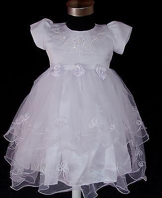 New Girls White Christening Party Flower Girls Dress 9-12 Months