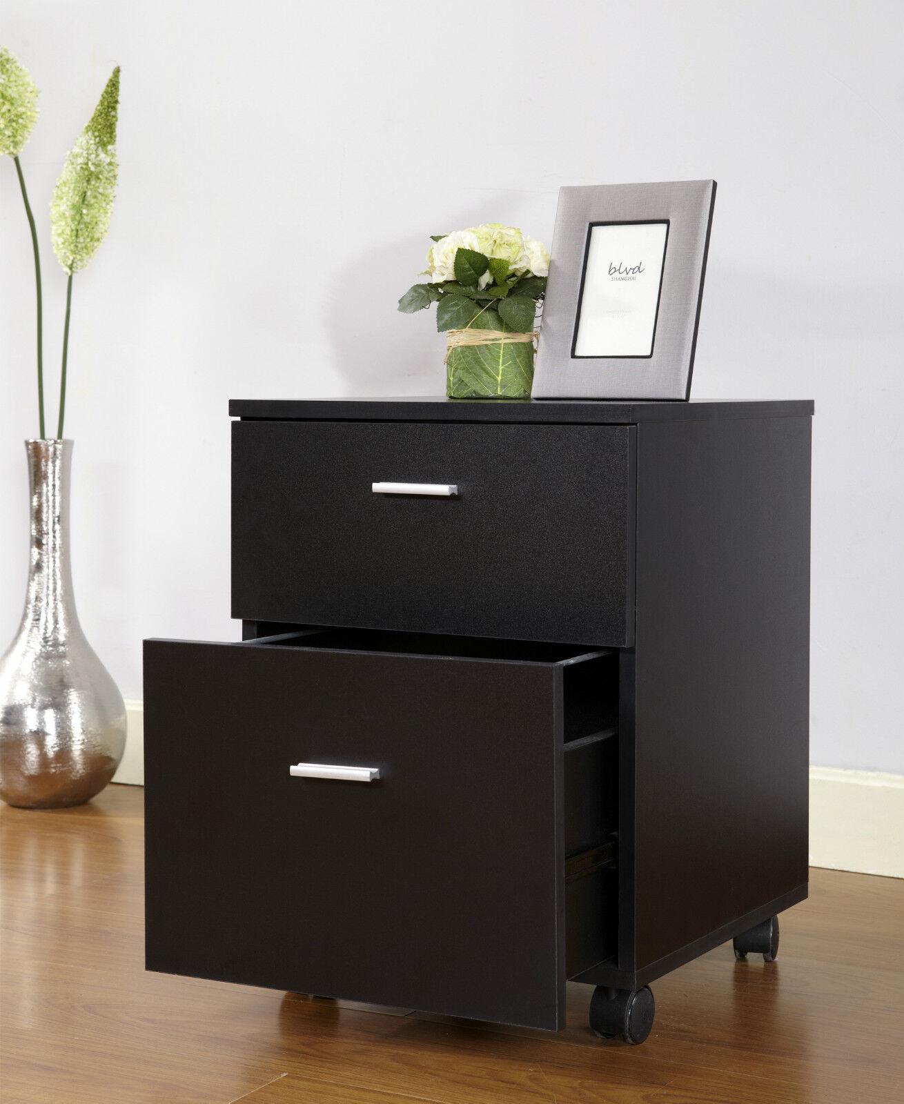 2 Drawer Wood Mobile File Cabinet In Black Finish New Ebay