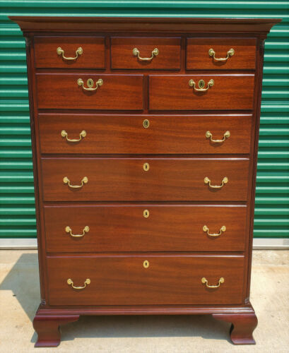 Kindel Winterthur Collection Mahogany Chippendale High Chest of Drawers Vintage