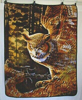 NORTHWEST Owl Blanket Throw Wall Hanging Plush 48 x 60 Reversible Al Agnew