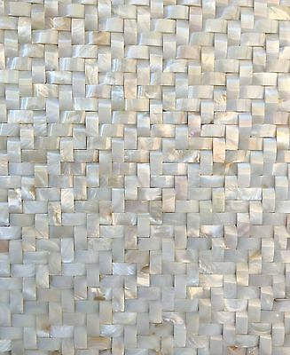 White Mother of Pearl Shell Mosaic Tile Wavy Herringbone 12x12 Wall Backsplash