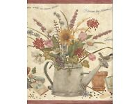 York CC4502BD Cottage Chic Wallpaper Border Country Watering Can Flowers Ducks