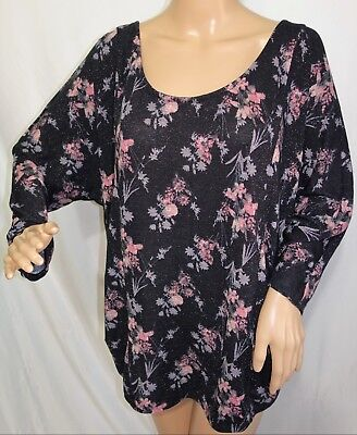 Faded Glory Women Plus Size 2x 3x 4x Black Pink Shiny Floral Top Blouse (Pink Shiny)