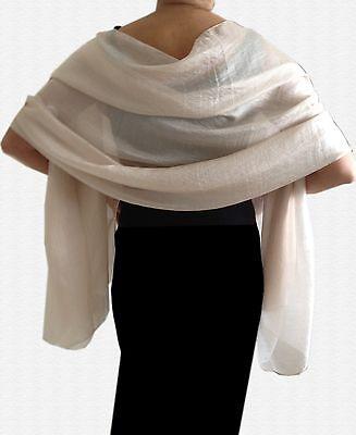 Silky Lightweight PALE GOLD Shimmer WEDDING Pashmina Shawl Wrap Scarf ~ 20% SILK