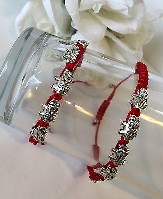 2-Elephant Bracelets Matching Charm Friendship Pulcera De Elefante Red - Friendship Charm Bracelets