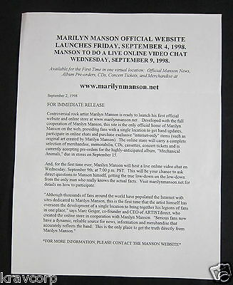 Marilyn Manson  Video Chat  1998 Press Release