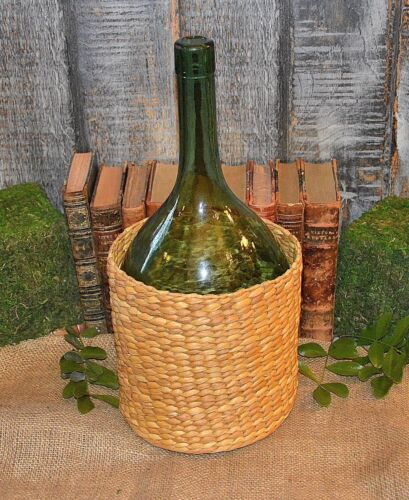Antique French Demijohn Green Balloon Shaped Glass Bottle in Basket
