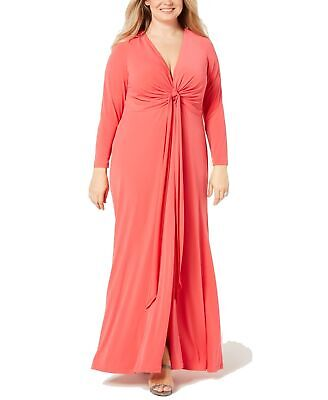 Calvin Klein Womens Gown Coral Pink Size 20W Plus Plunging Twist-Front $199- 021