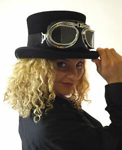 New-Wool-Felt-Black-Top-Hat-Steampunk-Fashion-Goggles-Glasses-Clear-Black-Red