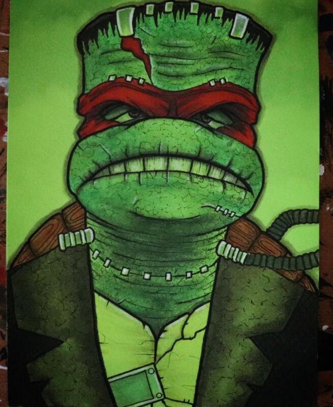 Teenage Mutant Ninja Turtles Raphael Frankenstein Neca Toys Original Comic Art