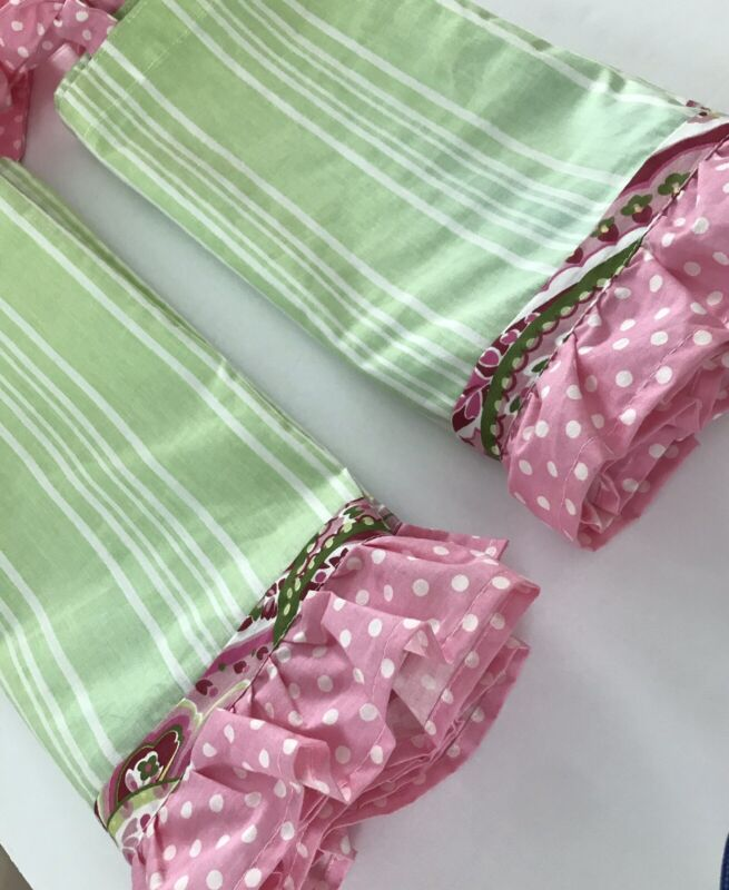 MY BABY SAM LOT 2 Valances PAISLEY SPLASH Pink Green Stripe Polka Dot Tie Top
