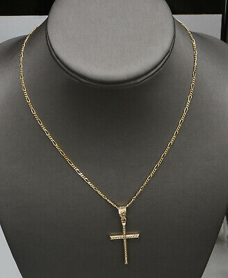 """Vintage 14k Solid Yellow Gold Cross Necklace Figaro 16.25"""" 4.6 Grams"""