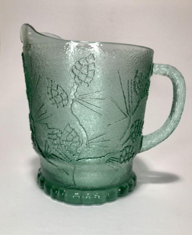 Tiara Indiana Glass Pitcher Green Pine Cone Evergreen Tree.                   D6