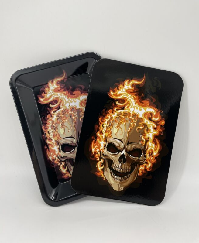Tobacco Rolling Tray WITH Magnetic Lid Flaming Skull Design + FREE Random Gift!
