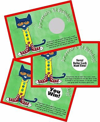 PETE THE CAT PERSONALIZED SCRATCH OFFS PARTY GAMES CARDS BIRTHDAY GAME FAVORS