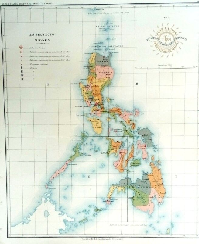 PHILIPPINE ISLANDS - WEATHER - SEISMIC STATIONS  1899 Original Antique Map