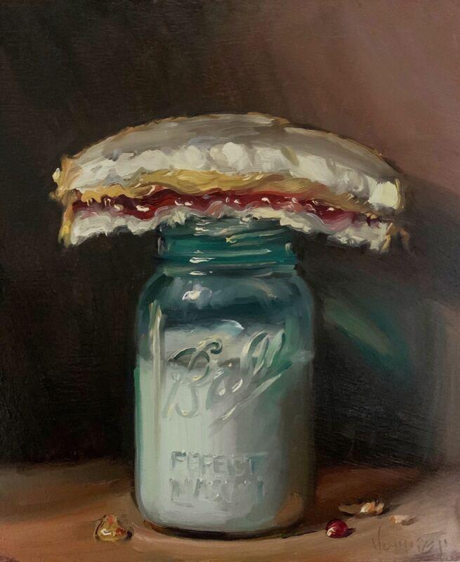 """""""PBJ & Milk (Vintage)"""" NOAH VERRIER Still life oil painting, Signed art print"""
