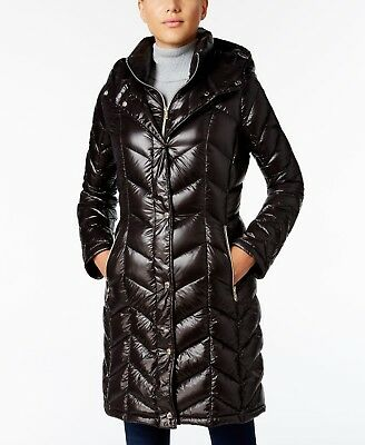Calvin Klein Chevron Down Quilted Hooded Packable Puffer Jacket Coat S