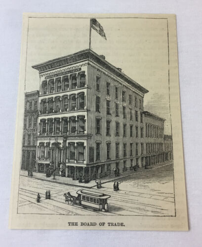 1885 magazine engraving~ Louisville, KY~ THE BOARD OF TRADE